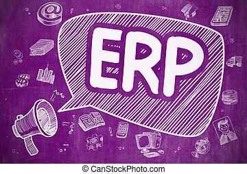 ERP - Cartoon Illustration on Purple Chalkboard.
