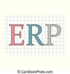 ERP (Enterprise Resource Planning) acronym on checkered paper sheet