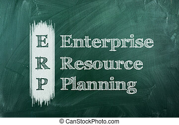erp - erp - enterprise resource planning on green chalkboard...