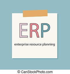 ERP Enterprise Resource Planning written in notebook paper- vector illustration