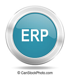 erp icon, blue round glossy metallic button, web and mobile app design illustration