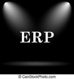 ERP icon. Internet button on black background.