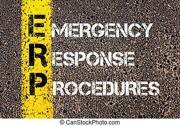 erp, negócio, emergência, acrônimo, procedimentos, resposta