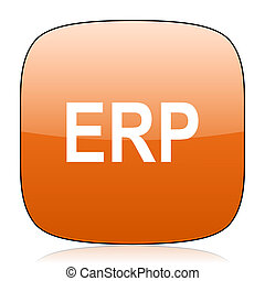 erp orange square web design glossy icon