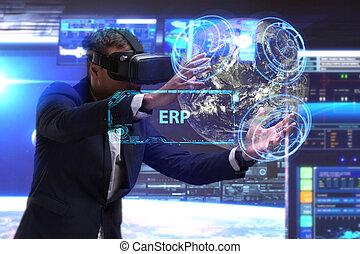 erp, réseau, fonctionnement, inscription:, concept., jeune, virtuel, business, homme affaires, internet, voit, technologie, réalité, lunettes