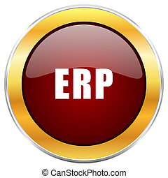 Erp red web icon with golden border isolated on white background. Round glossy button.