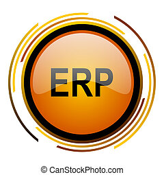 erp round design orange glossy web icon