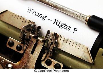 errado, direita, -