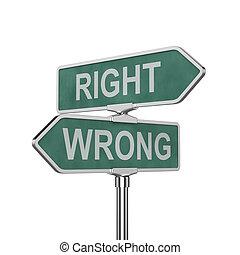 errado, direita, concep