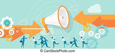 errado, liderança, direção, equipe negócio