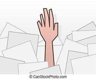 erreichen, hand, papiere, unter