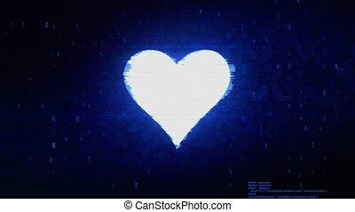 erreur, carte, coeur, numérique, pixel, bruit, complet,...