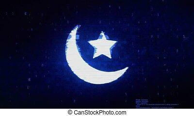 erreur, islamique, eid, numérique, pixel, bruit, symbole, animation.