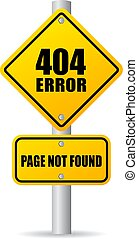 erro, 404, estrada, ilustração, sinal
