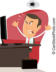 Illustration of an angry cartoon businessman encountering bugs on his computer machine