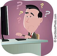 Error 404 - Illustration of a cartoon white man working at...