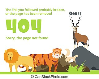 Error 404. Not found web site page with warning message.