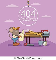 Error 404 nothing found banner with worker mouses under...