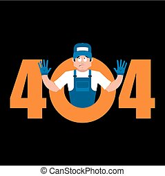 Error 404 Plumber surprise. Page not found template for web site. Fitter does not know and is surprised. Page lost and found message. problem disconnect
