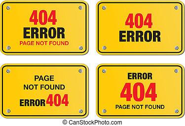error 404 yellow sign