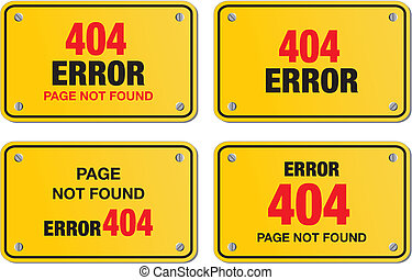 error 404 yellow sign