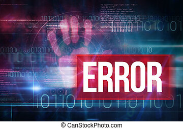 Error against blue technology design with binary code