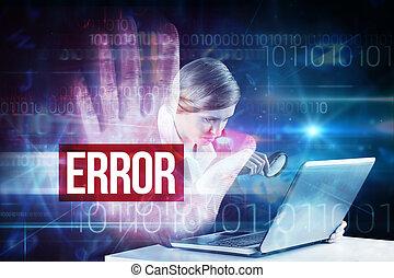 Error against red technology hand print design