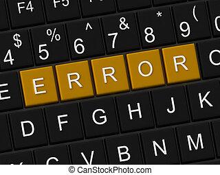Error button on a black computer keyboard