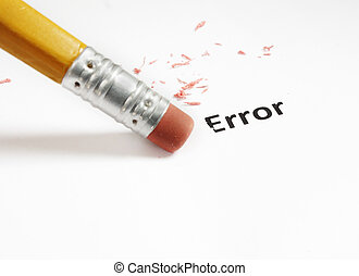 error correction - closeup of a pencil eraser fixing an...