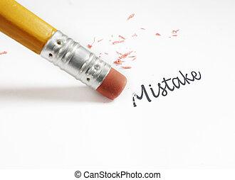 """error correction - closeup of a pencil eraser fixing an """"..."""