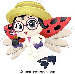 error de dama, mascota, botánico, ilustración