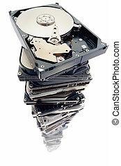 Error discs - Stack of hard discs on the white background