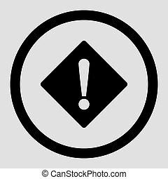 Error flat black color rounded vector icon - Error vector...
