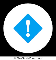 Error flat blue and white colors round button