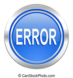 error icon, blue button