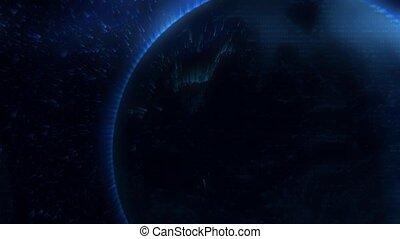 Error in satellite signal, planet earth