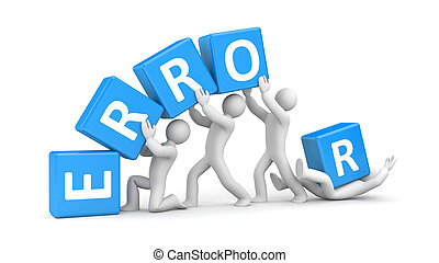Error metaphor - Teamwork concept. Isolated on white
