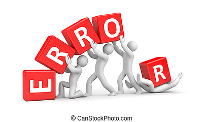 Error metaphor - Teamwork concept. Isolated on white