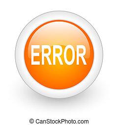 error orange glossy web icon on white background
