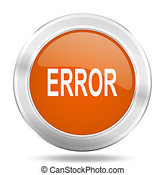 error orange icon, metallic design internet button, web and mobile app illustration