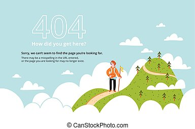 Error 404 page with a mountain, vector template