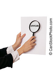 Error - office worker holds in the hand a paper with...