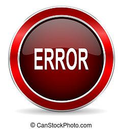 error red circle glossy web icon, round button with metallic border