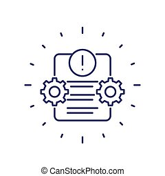 Error report, failed test line icon