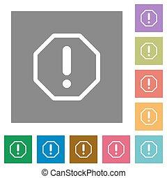 Error square flat icons