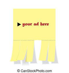 erros, corte, -, ilustração, anúncio, em branco