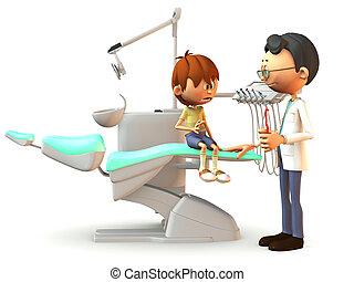 erschrocken, karikatur, junge, besuchen, der, dentist.