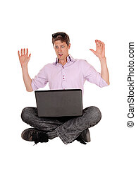erschrocken, mann, was, laptop, sieht, seine, er