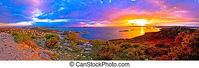 erstaunlich, bunte, sonnenuntergang, panorama, von,...