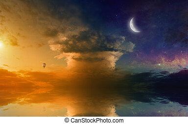 erstaunlich, sonnenuntergang, reflexion, glühen, meer